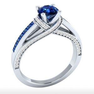 .925 Sterling Silver Sapphire and Diamond Ring 7